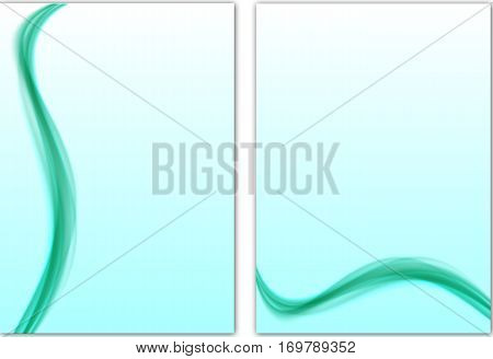 Abstract Template With Light-blue Smooth Lines In Soft Style