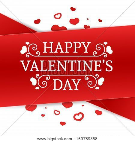 Template design Happy valentine's day card. Holiday poster with red color tape and special valentine's text. Romantic banner and coupon with heart. Vector