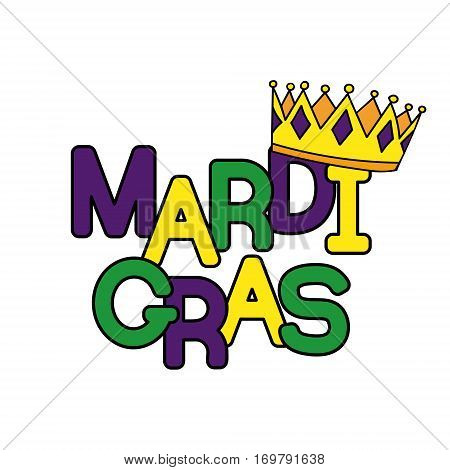 Mardi Gras or Shrove Tuesday. Colorful background with crowns. Vector illustration