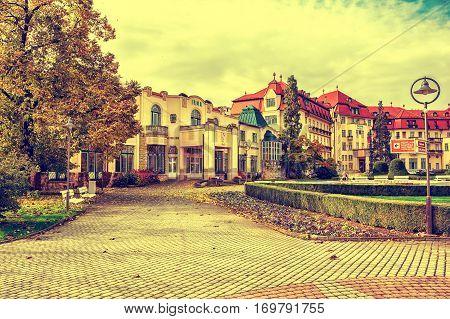 Piestany Hungary - October 23 2016: Piestany Spa Island thermal resort Irma