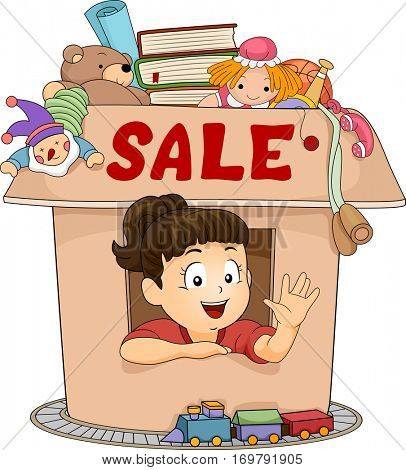 Illustration of a Cute Little Girl Peeking Out from a Small Box with the Word Sale Written on It