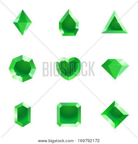 Set of different shapes gems. High quality green gemstones, crystals, diamonds. Vector illustration on a white background.