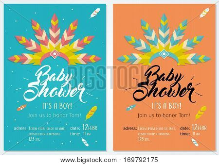 Baby shower set. Cute invitation cards design for baby shower party with illustration of headdress for native american indian chief. For boy. Tow colors variations.