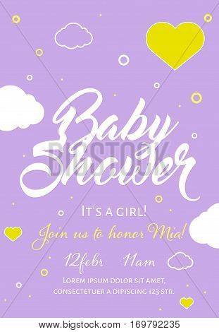 Cute invitation cards design for baby shower party with illustration of hearts and clouds on lilac background. Template design for girl.