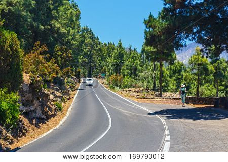 route in the mountains in Tenerife Island Spain