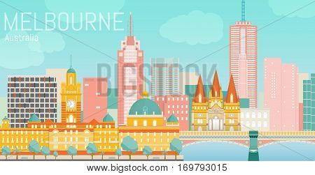 Melbourne city flat vector illustration. Vector landscape on Yarra river bank. Day view with Flinders street station, St Paul's Cathedral, Princes Bridge. Travel picture. Poster ad design.
