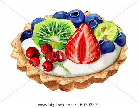 Tartalettes with blueberry, strawberry and mint leaves isolated on white. Watercolor illustration.