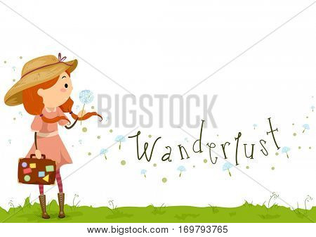 Stickman Illustration of a Little Girl in a Dress and a Sun Hat Carrying a Suitcase Covered with Stickers