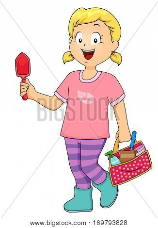 Illustration of a Little Girl Holding a Trowel in One Hand and a Carrying Miscellaneous Gardening Tools in the Other