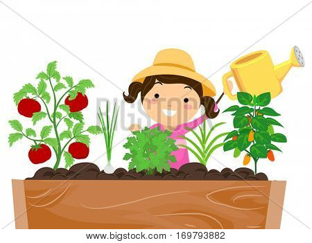 Stickman Illustration of a Little Girl in a Sun Hat Watering the Plants in Her Garden