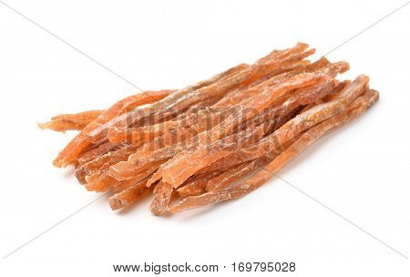 Dried salted fish sticks isolated on white