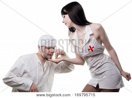 Nurse offers anesthetic drugs on white background