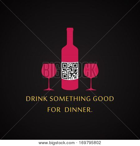 Drink something good for dinner - QR Code design template with hidden text inside the code