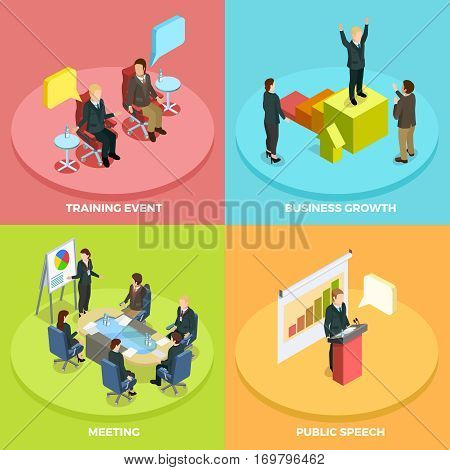 Business learning isometric concept with different ways of personal achievement development and coaching vector illustration