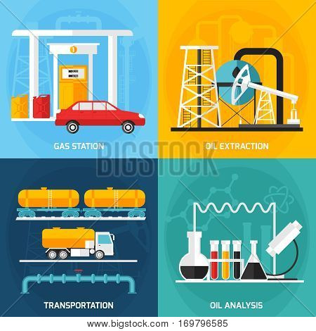 Four gas oil industry square compositions set with decorative icons representing petrol extraction analysis and transportation vector illustration