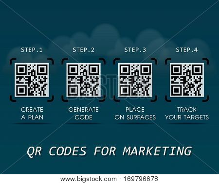 QR Codes for marketing - the first steps to start using the quick response codes - business infographic template