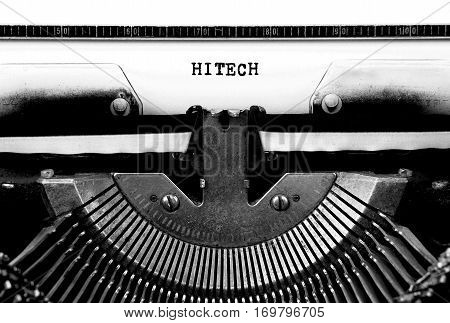 HITECH Typed Words On a Vintage Typewriter Conceptual