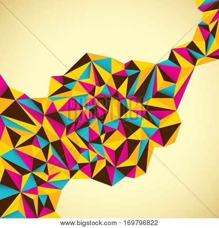 Abstract style background with colorful geometric composition made of triangles. Vector illustration.