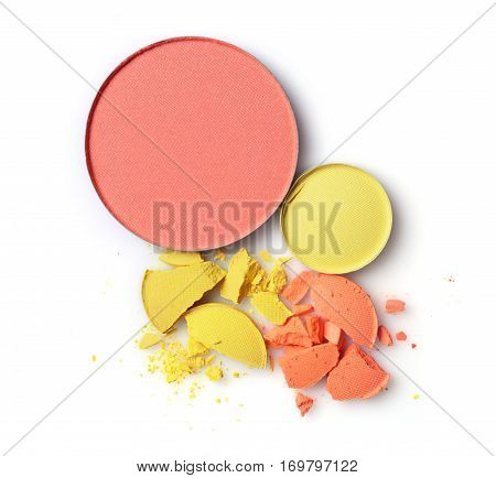 Round Blusher With Yellow And Orange Crashed Eyeshadow For Makeup As Sample Of Cosmetics Product