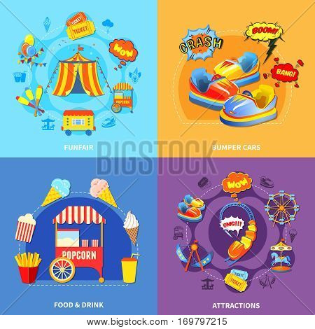 Circus amusement park 4 flat icons square composition abstract isolated vector illustration