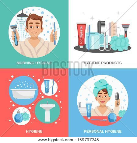 Hygiene design concept with cartoon compositions of personal hygiene products combs shavers and happy human character vector illustration