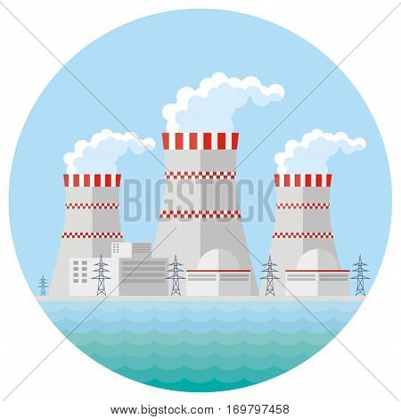 Abstract image of a nuclear power plant. Vector background.