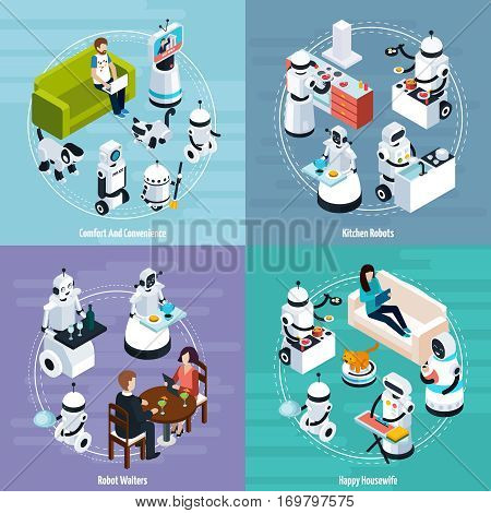 Kitchen and housewife home robots 2x2 isometric design concept of cleaning washing cooking waiters functions vector Illustration poster