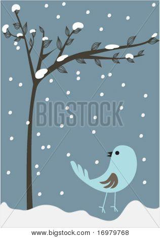 New year card with sad bird. Vector.