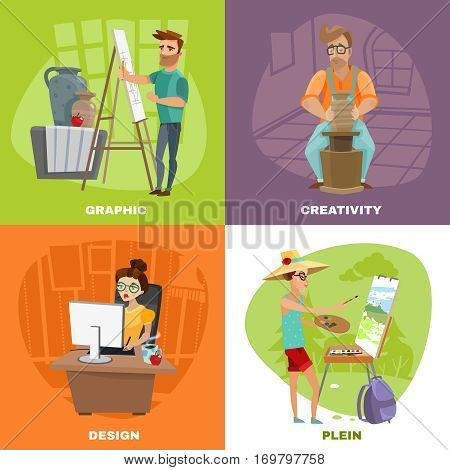 Creative artist designer work concept 2 colorful background icons square with landscape painter and sculptor isolated vector illustration