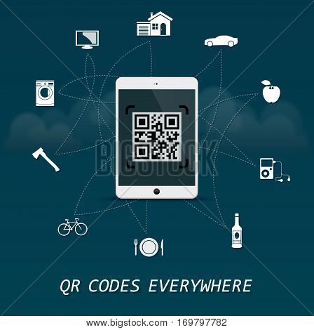 QR Codes everywhere - quick response codes business infographic template with tablet in the center
