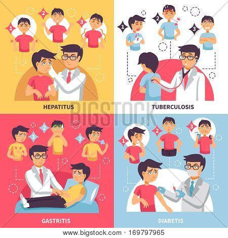 Illnesses design concept with four square compositions funny boy and doctor characters with infographic symptomatic images vector illustration