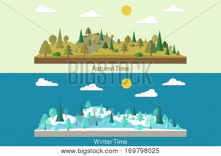 Set of landscapes. Winter Forest. Autumn forest. Forest in flat style. Wildlife. Eco lifestyle. Forest view. Vector illustration