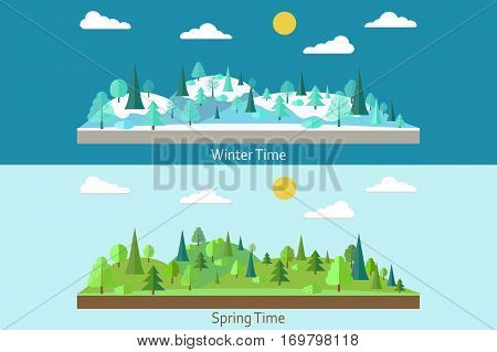 Set of landscapes. Winter Forest. Spring forest. Forest in flat style. Wildlife. Eco lifestyle. Forest view. Vector illustration