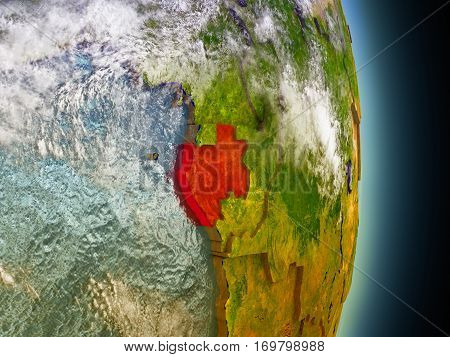 Gabon In Red From Space