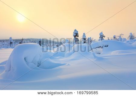 Big Snow Winter Sunset Landscape - snow covered pine trees and big snowbanks, hills valley - wallpaper