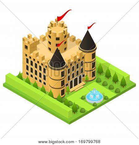 Castle Fairytale Medieval House on a Landscape Background Isometric View for Web, App and Game. Vector illustration