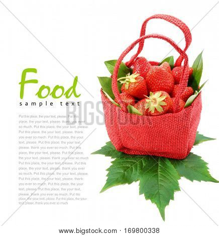 Basket with strawberry. Strawberries in a basket. Isolated on white background. Red Basket.