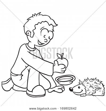 little boy feeding a hedgehog cartoon