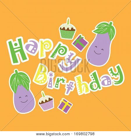 Birthday card with cute eggplants, birthday cake and gift suitable for birthday kid birthday card, greeting card, and invitation card