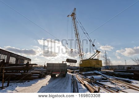 The Finished Shell Of The Heat Exchanger Unload The Crane