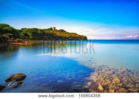 Punta Ala sea wild beach bay and old tower. Maremma Tuscany Italy Europe