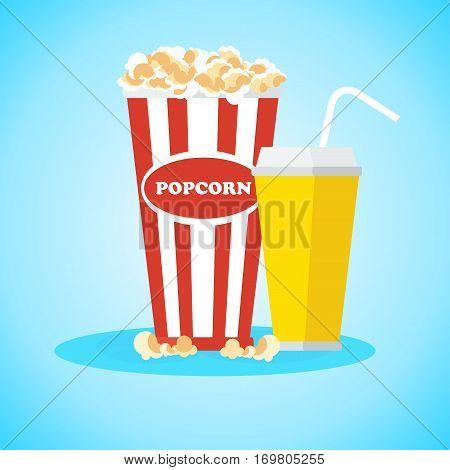 Pop corn in red box. Flat vector cartoon illustration.