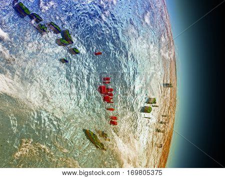Vanuatu In Red From Space