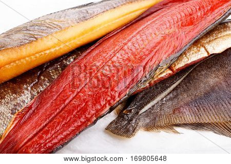 Smoked fish - red salmon halibut flounder.