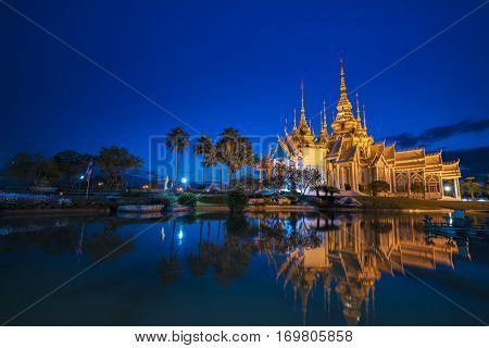 sunset in temple at Wat None Kum in Nakhon Ratchasima province Thailand