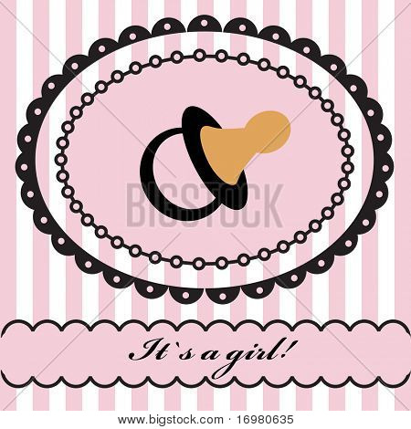 Baby girl arrival announcement retro card. Vector illustration.