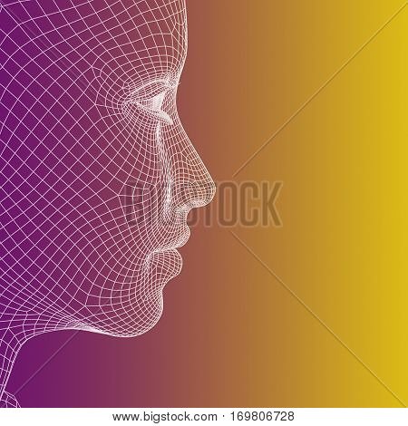 Concept or conceptual 3D illustration wireframe young human female or woman face or head on purple orange background for technology, cyborg, digital, virtual, avatar, model, science, fiction or future