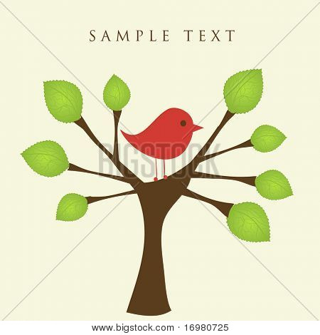 Green tree and bird. Vector.