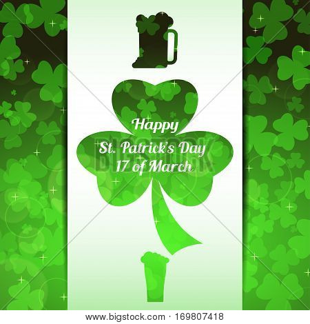 Vector abstract gradient green background for Happy St. Patrick's Day with white stripe leaves of clover pattern and cutout silhouette of goblets of beer.