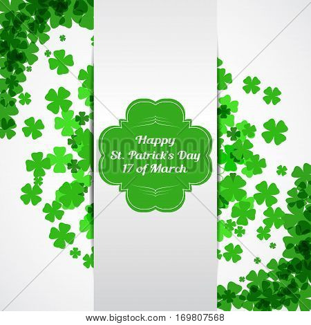 Vector Happy St. Patrick's Day card on the white background with green label shadow white stripe text and clover leaves arranged in a circle and at corners.